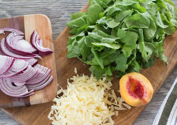 ingredients for Peach and Arugula Pizza