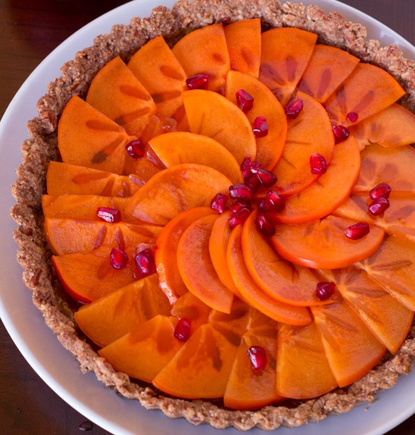 This super easy Persimmon Tart with Pecan Crust is gluten free and naturally sweetened.