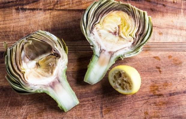 artichoke halves par cooked for Lemon Roasted Artichokes
