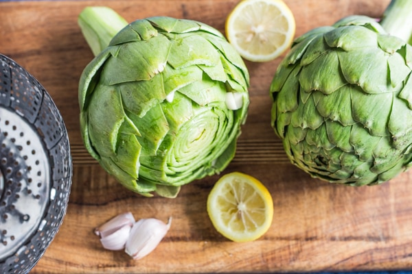 Prepping artichokes for Lemon Roasted Artichokes