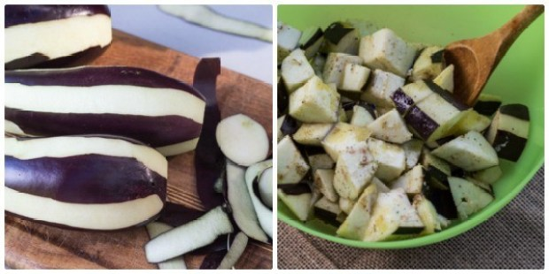 prepping eggplant for Roasted Eggplant and Tomato Pitas with Lemon Tahini Sauce | Letty's Kitchen