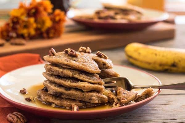 Chunky Banana Chocolate Chip Pecan Pancakes