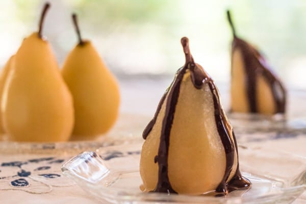 Cinnamon Poached Pears with Chocolate Sauce