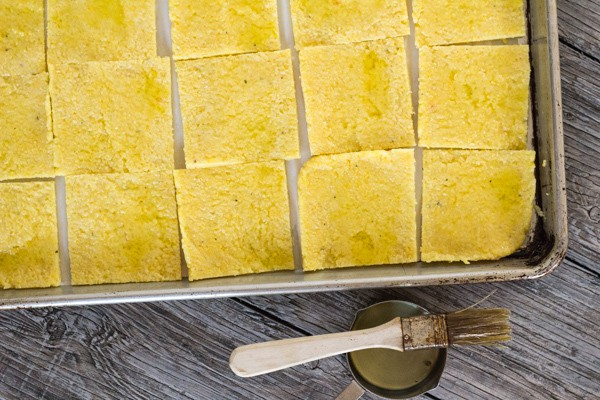 polenta before baking for Golden Polenta with Cannellini Beans and Mushroom Sage Gravy | Letty's Kitchen