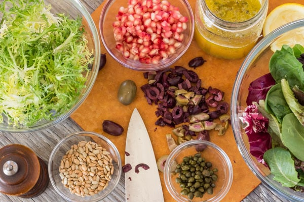 ingredients for Winter Greens with Pomegranate and Olives | Letty's Kitchen