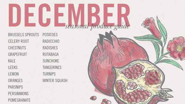 December produce guide for Winter Greens with Pomegranate and Olives | Letty's Kitchen