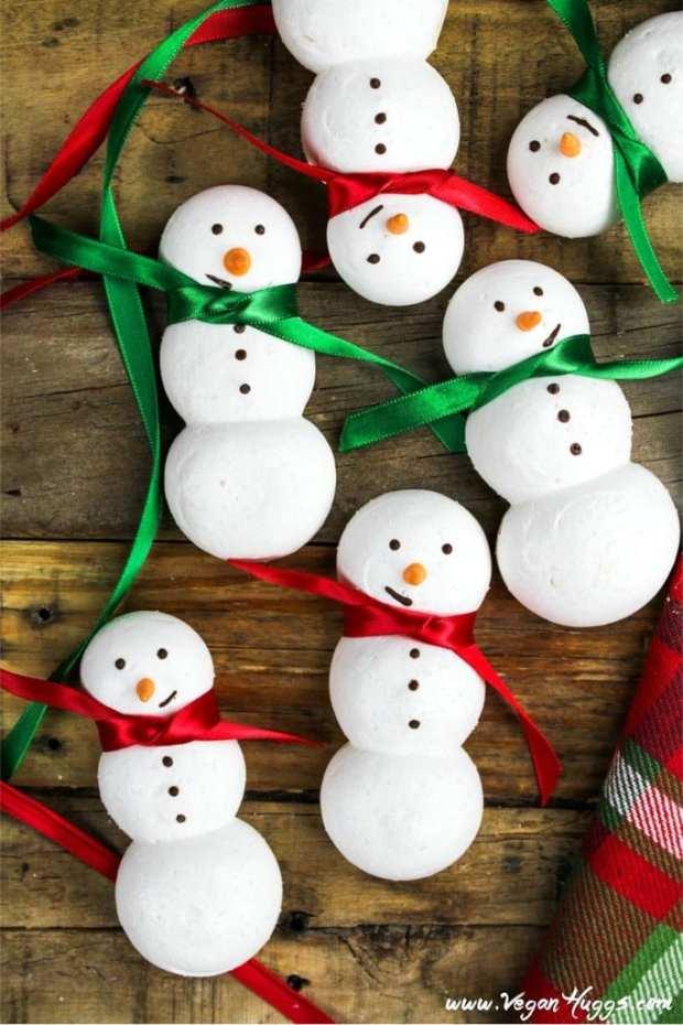 Snowmen Vegan Meringue Cookies for Healthy Holiday Cookies