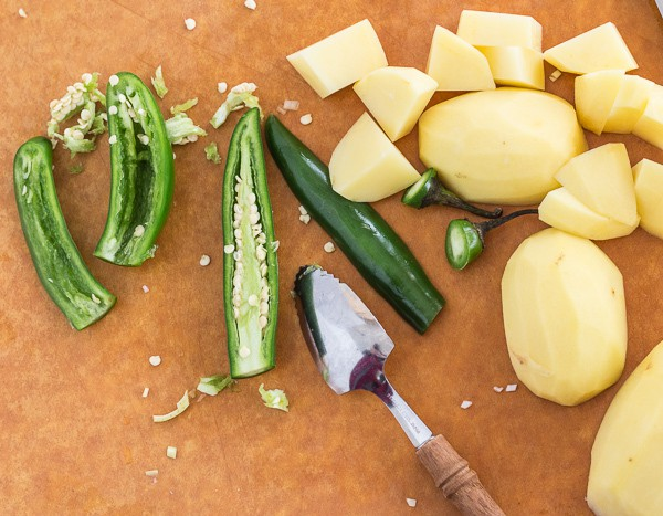 chiles and potatoes for Spicy Cashew Spring Greens Soup | Letty's Kitchen