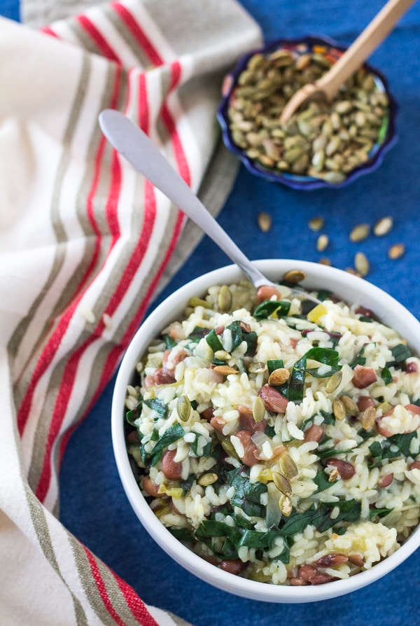 overhead Spicy Instant Pot Chard and Pinto Bean Risotto | Letty's Kitchen
