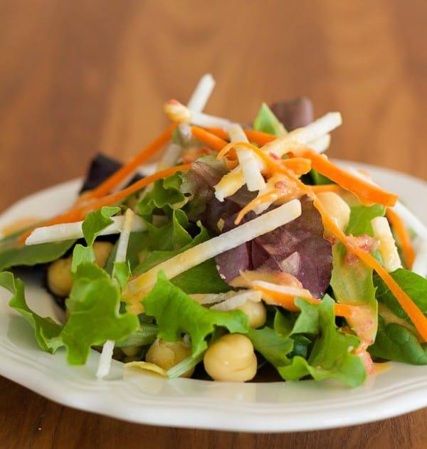 Easy Hummus Vinaigrette Salad Dressing on salad