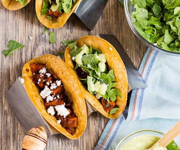 Vegetarian Mole Tacos with sweet potatoes