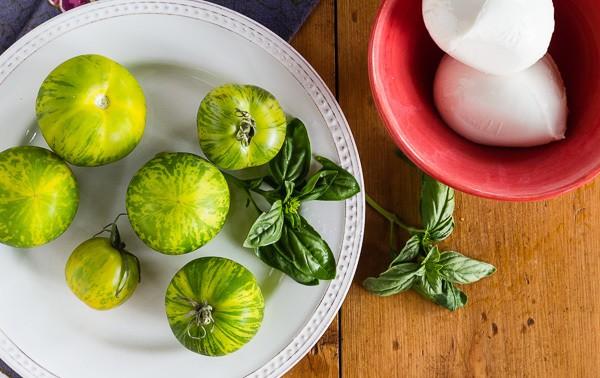 Green Zebra Tomato Caprese Salad ingredients