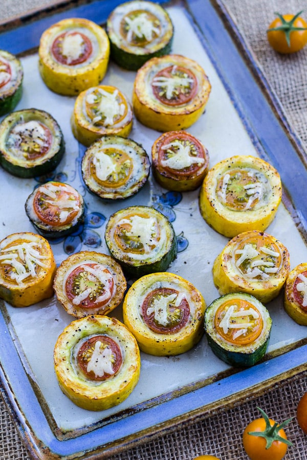 Zucchini, Cherry Tomato, and Gorgonzola Bites