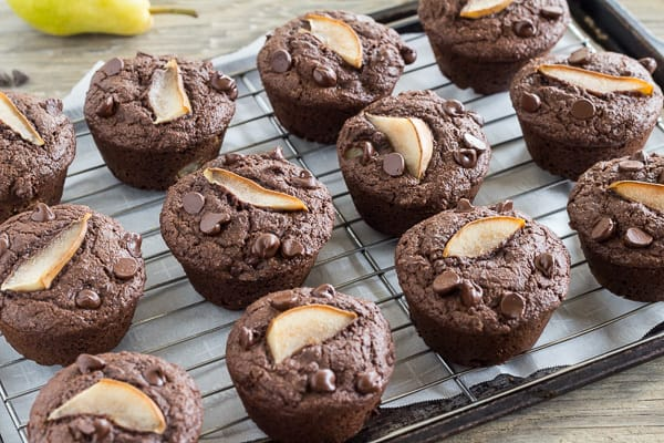 Chocolate Maple Pear Muffins cooling on rack