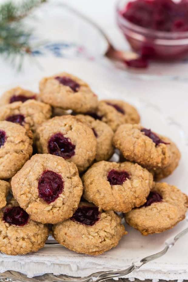 Almond Cranberry Thumbprint Cookies on plate | Letty's Kitchen
