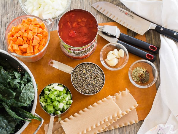 Ingredients for Lasagna Minestrone Soup with Lentils and Kale