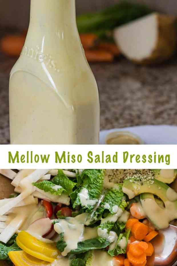 Creamy miso salad dressing with white miso. Tangy and slightly sweet, delicious on green salads and with raw vegetables. With tips for how to prep healthy salad ingredients for salads on the table in 10 minutes, every day. #vegan #glutenfree #probiotic #salad #dressings #miso