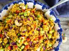 Curried Brown Rice and Veggie Salad with Toasted Cashews overhead shot