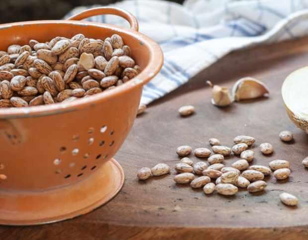 dried pinto beans in orange colander