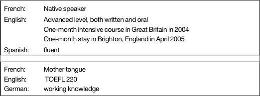 niveaux anglais cv en anglais