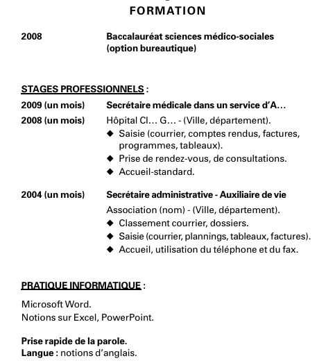 cv bafa stage pratique exemple