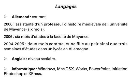 rubrique langue dans un cv