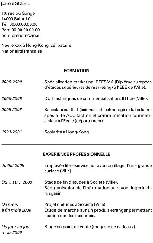 cv pour stage bac pro gestion administration