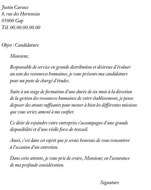 lettre de motivation de candidature cvs