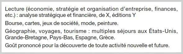 example centre dinteret et loisirs cv