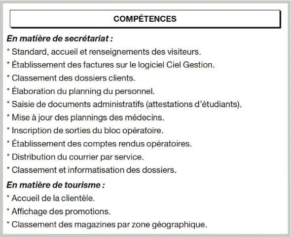principales competences cv
