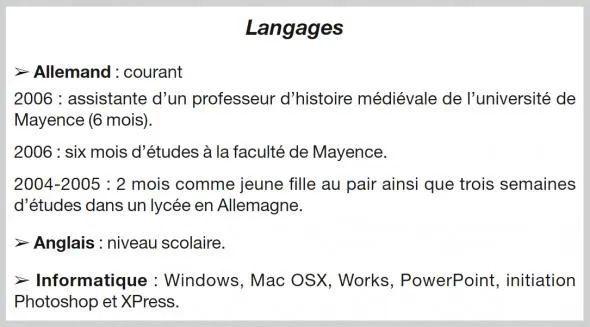 niveau langue cv