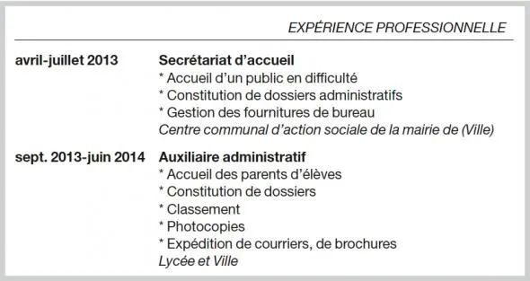 stage experience professionnelle cv