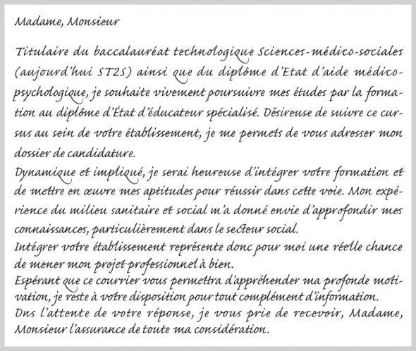 parcoursup lettre de motivation cv