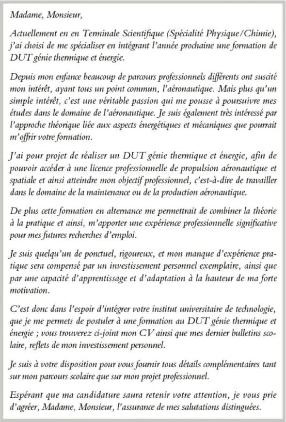 iut cv lettre de motivation