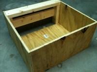 Custom built wood washer and dryer shelves 3