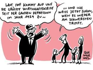 """""""Düstere Vorhersage des IWF: Die größte Krise seit der Großen Depression"""" © www.schwarwel-karikatur.com"""