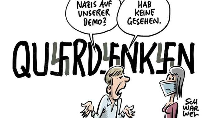 Auf der Querdenken-Demo am 7. November 2020 waren sehr viele Nazis. Eine Abgrenzung durch die Veranstalter nicht statt. Auf dem rechten Auge blind. © schwarwel www.schwarwel.de