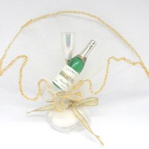 Bruiloft Bedankje 'Champagne Flesje en Glas' (wit met goud)