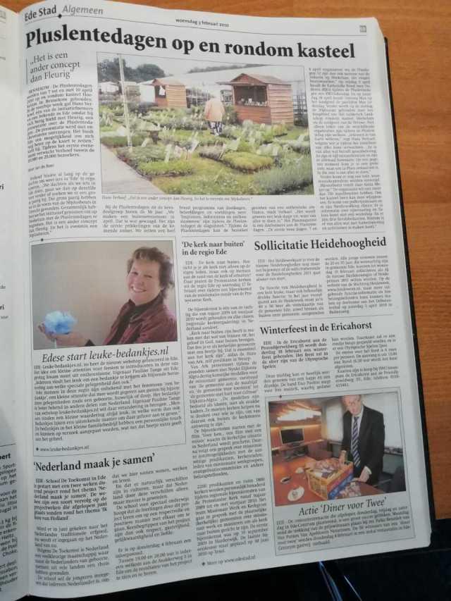 Een artikel over leuke bedankjes in de Ede Stad op 3 februari 2010