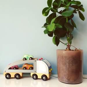 Leukste kraamcadeau: 101 cadeau ideeën voor de geboorte van een baby - houten vrachtwagen auto van Janod, leuk voor baby, peuter en kleuter