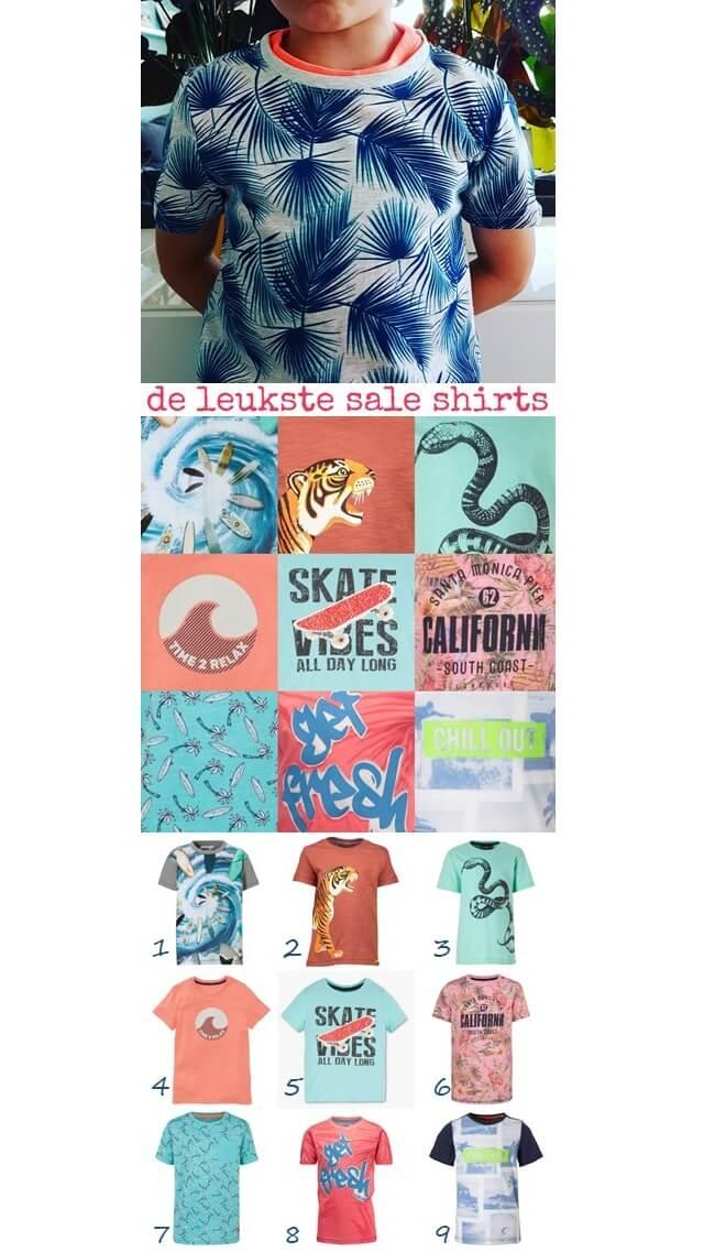 de leukste sale shirts voor jongens #leukmetkids #kinderkleding #jongenskleding #sale geometrische bladeren, surfboards in draaikolk, tijger, slang, aaibare golf, skateboard metomkeerpailletten, California, surfboards en palmen, frisse bladerprint, surfdudes