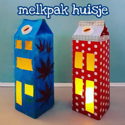 Knutselen voor Sinterklaas en Kerst: huisjes maken van een melkpak