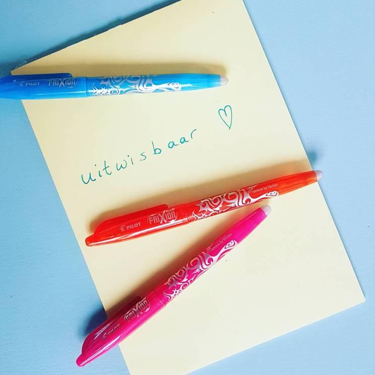 Ideaal: uitwisbare pen in vrolijke kleurtjes van van Frixion Rollerball