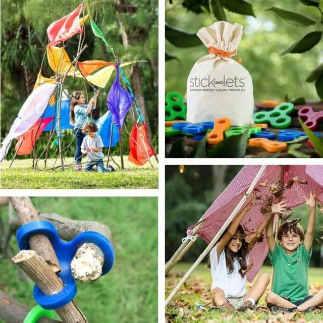 Stick-lets: buitenspeelgoed om een hut te bouwen met takken, leuk cadeau idee voor kids