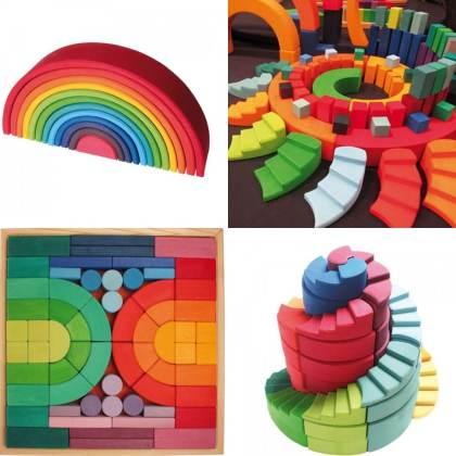 verjaardag cadeau ideeën voor een kleuter - houten speelgoed van Grimm om mee te bouwen dat de fantasie stimuleert