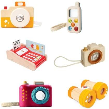 Net als papa en mama, met je eigen telefoon, camera, verrekijker en pinautomaat.