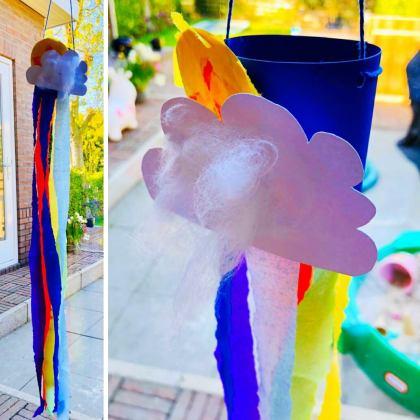 Lente en zomer knutselen: wolk met regenboog raamhanger
