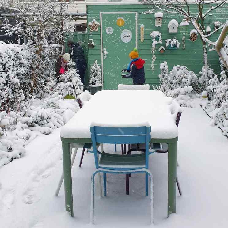 Tips voor een kindvriendelijke, kleurrijke en groenblijvende tuin. De tuin in de sneeuw in de winter.
