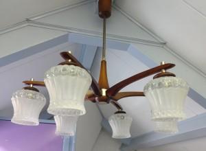 Vintage jaren 50 teakhouten kroonluchterhanglamp 6
