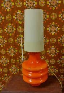 Murano oranje colored opaline glas tafellamp jaren 60 70